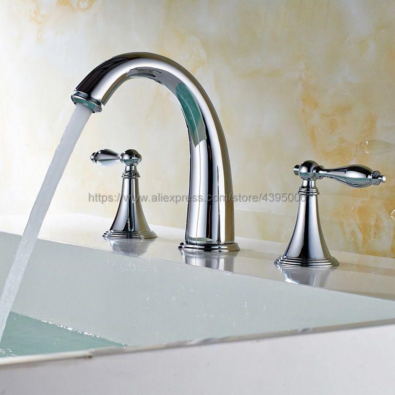 Polished Chrome Basin Faucet 3 Hole Bathroom Sink Faucet Deck Mounted Cold Hot Vintage Sink Faucet Mixer Tap Bnf433Polished Chrome Basin Faucet 3 Hole Bathroom Sink Faucet Deck Mounted Cold Hot Vintage Sink Faucet Mixer Tap Bnf433