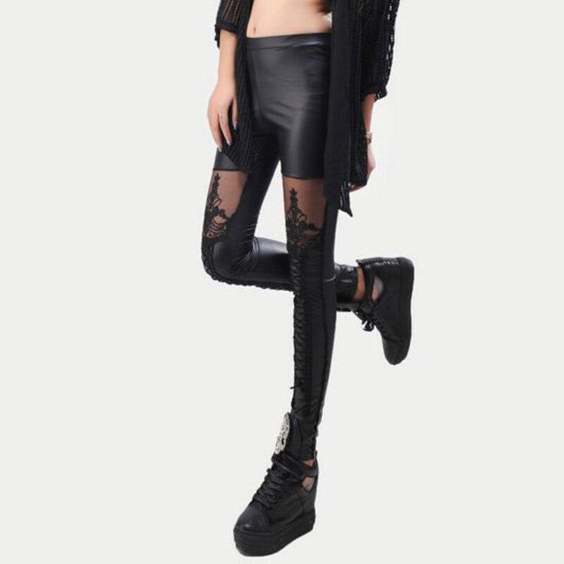 חותלות עור אופנה חדשה רקמת תחרה תפרים קשור הסקסי חותלות פאנק עור הנשים השחור פו Leggins מכנסיים Mujer 95Z
