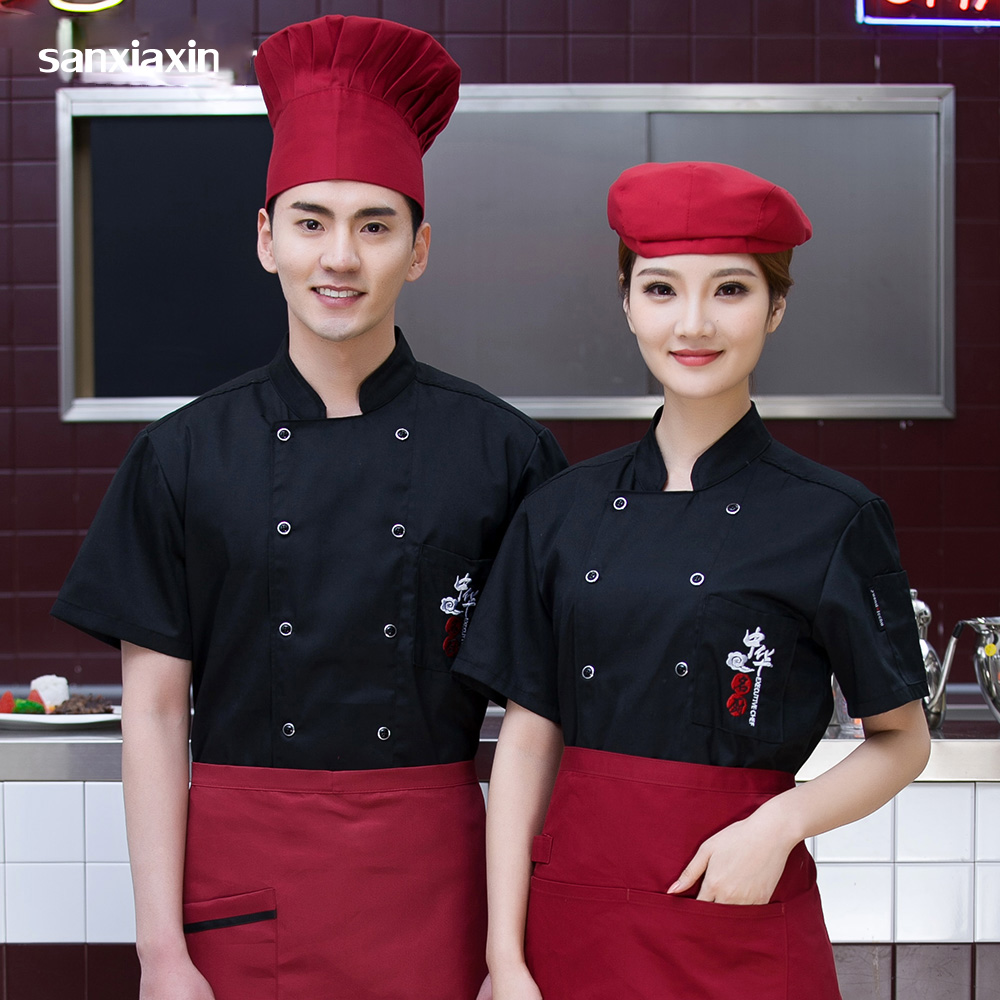 Sanxiaxin Double-breasted Food Service chef uniform Breathable restaurant hotel catering Kitchen Chef Jacket embroidery 3-colors