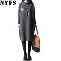2017 Spring Autumn Women Dress Comfortable Dots Long Sleeve Loose Plus Size Dress Vestidos Robe