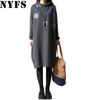 2017 Spring Autumn Women Dress Comfortable Dots Long Sleeve Loose Plus Size Dress Vestidos Robe