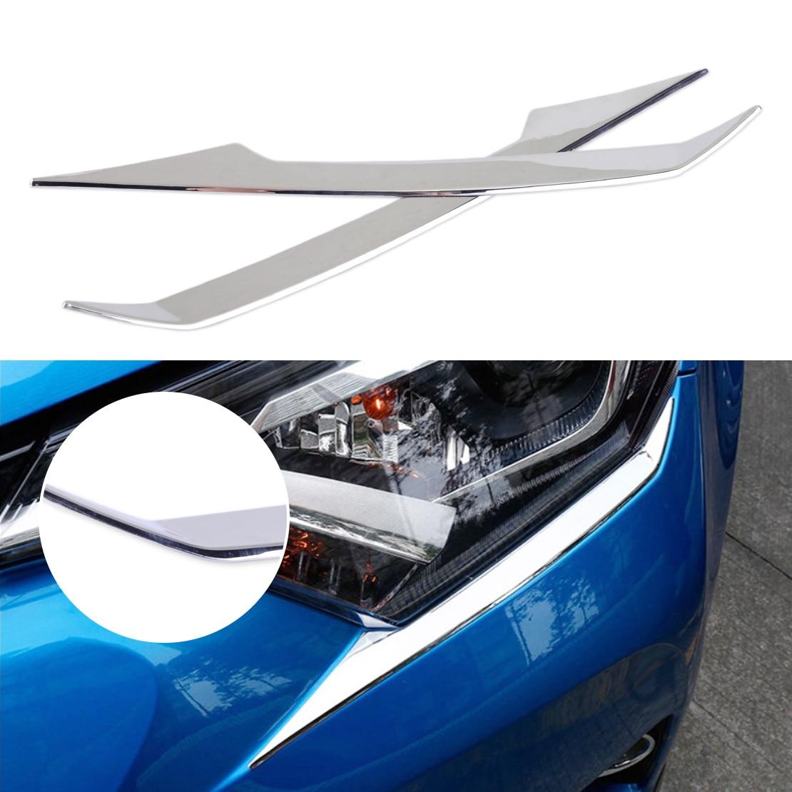 CITALL 2pcs Car styling ABS Chrome Front Head Light Eyelid Trim Molding Fit for Toyota RAV4 2016 2017