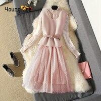 Young Gee Spring Streetwear Dress Beige Women Lantern Sleeve Polka Dots Mesh Female Sweet Lace Dresses+Woolen Vest With Belts