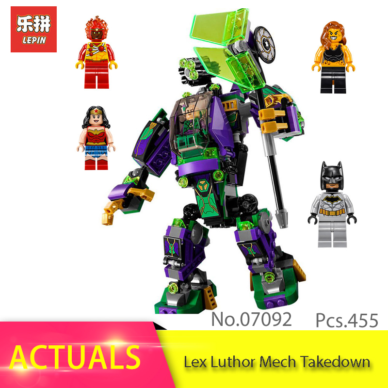 LEPIN 07092 445pcs Super Heroes Lex Luthor Mech Takedown Batman Model Building Block Brick Toy For Children 76097 Birthday Gift