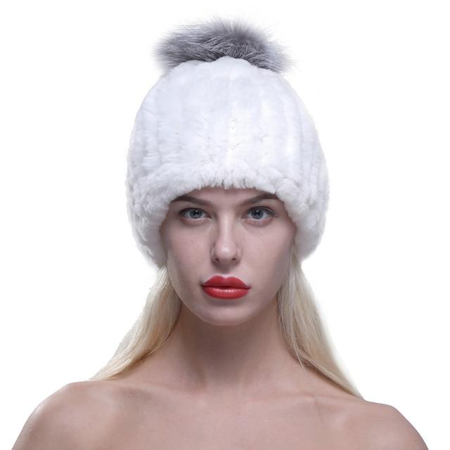 Ursfur mujeres real rex rabbit fur de punto beanie hat cap con Pom Pom de Piel de zorro tamaño libre casual con sombrero de red elástica flexible