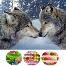 Two snow wolf 5d diy diamond painting animals round diamond mosaic cross stitch Snow scene diamond embroidery Siberia Wolf