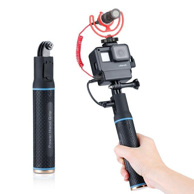 ハンドグリップバッテリー移動プロヒーロー 7 6 5 5200 5600mah バッテリー充電器パワー銀行グリップハンドヘルド一脚 Selfie スティックアクションカメラ用