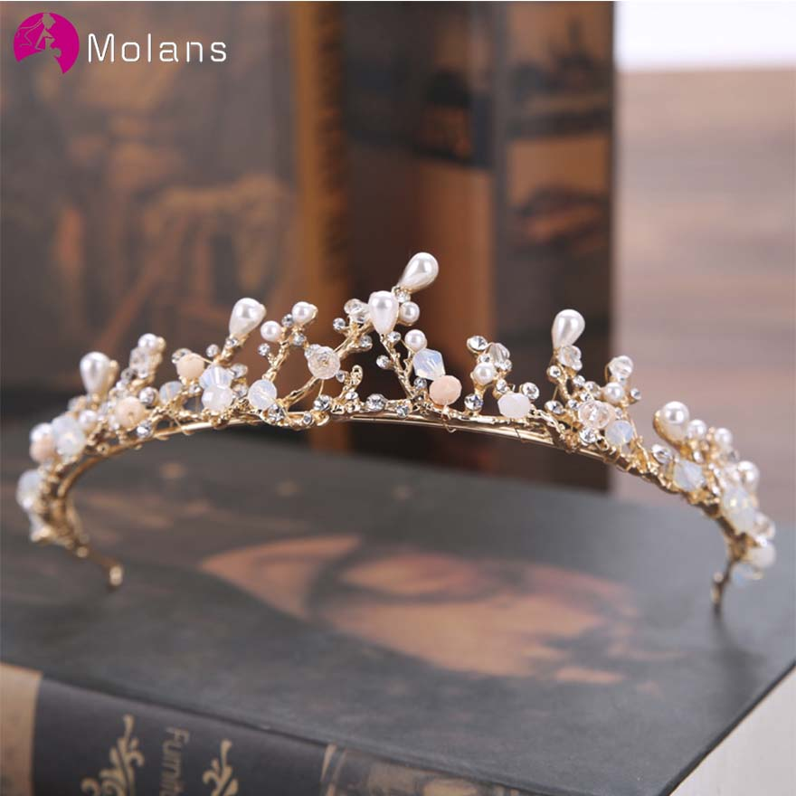 MOLANS Floral Pearl Crystal Crown And Sleeve Chain For Bridal Hair Accessories Golden Branch Princess Crown Headdress For Party