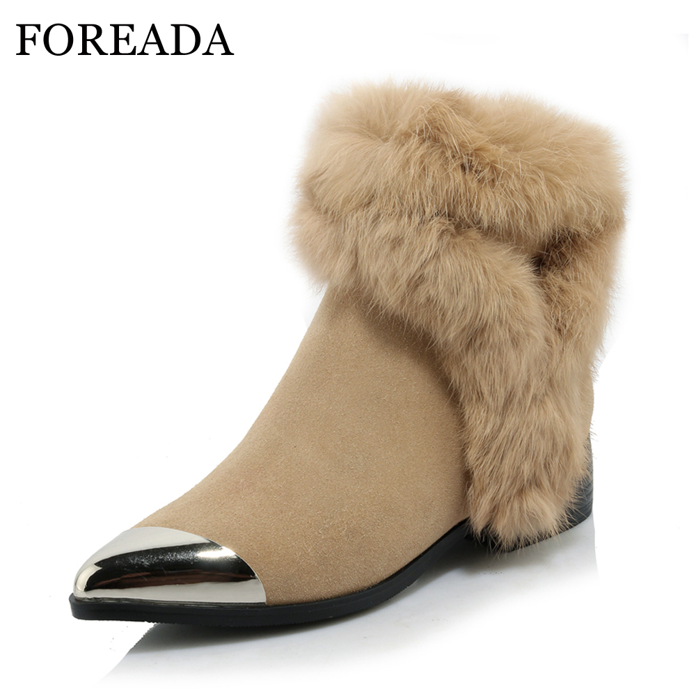 FOREADA Women Winter Boots Genuine Leather Real Rabbit Fur Ankle Boots Pointed To eLow Heel Shoes Cow Suede Leather Boots Zip
