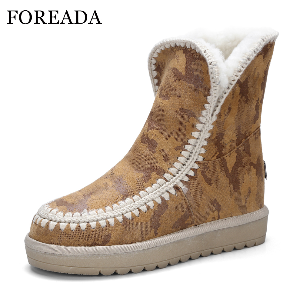 FOREADA Genuine Leather Women Snow Boots Fur Winter Ankle Boots Kid Suede Warm Wool Platform Wedge Boots Australia Female Shoes