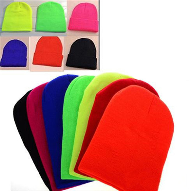 7bacba2244e6fc Unisex Women Men New Fashion Winter Solid Color Plain Beanie Knit Cap Skull  Hat Warm Cuff Blank Beany Cai0032
