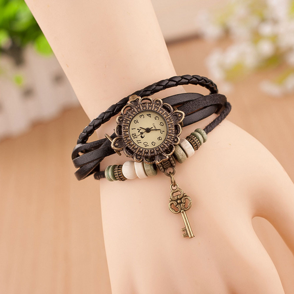 Vintage Bracelet Wrist Watch Ladies Quartz Top Brand Womens Watches With The Wooden Beads and Little Key Charm