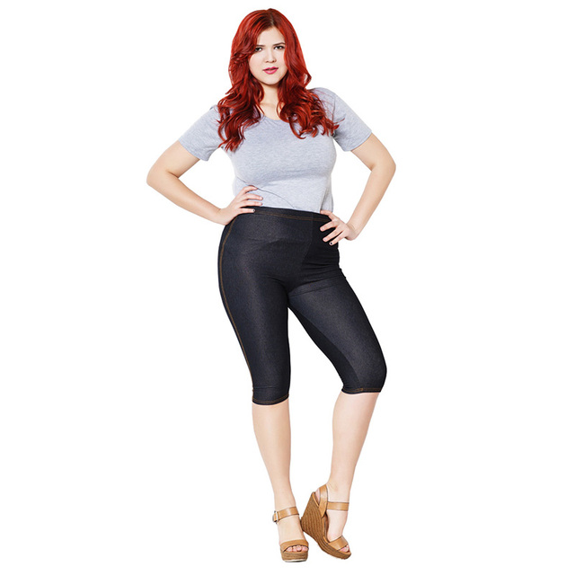 Women High Elastic Faux Jeans Leggings Plus Size Xl-5XL Imitation Jeans Knee Length Pants Skinny Denim Soft Leggings