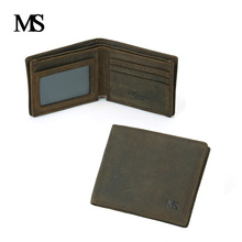 цена на High Quality Men Wallets Brand Vintage Genuine Leather Cowhide Short Bifold Men's Wallet Crazy Horse Leather Purse Card Holder