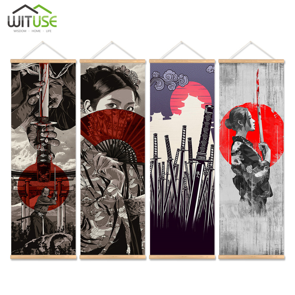 4PC Japanese Samurai Print Scroll Painting Wall Art Pictures Hanging Framed Canvas Painting With Wood Hanger