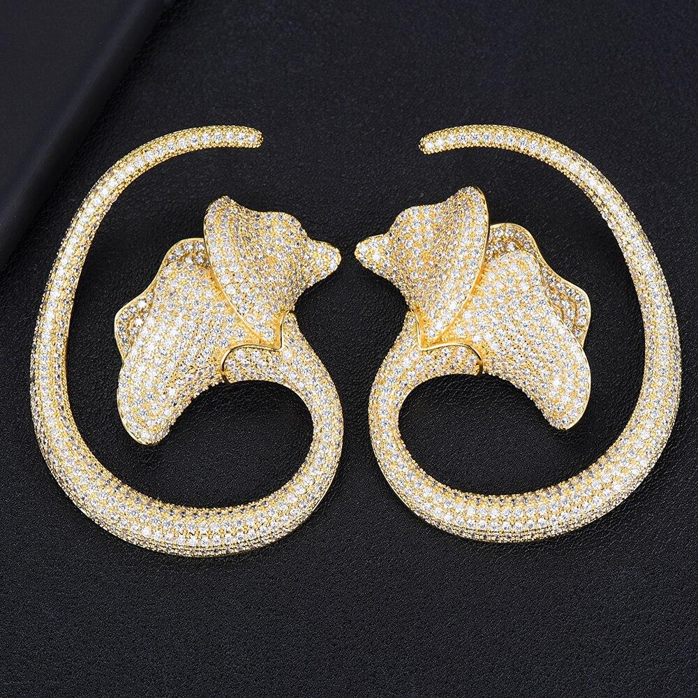 SisCathy Unique Big Luxury Lotus Leaf Flower Earrings For Women Wedding Full Mirco Cubic Zircon Earrings Fashion Jewelry in Stud Earrings from Jewelry Accessories
