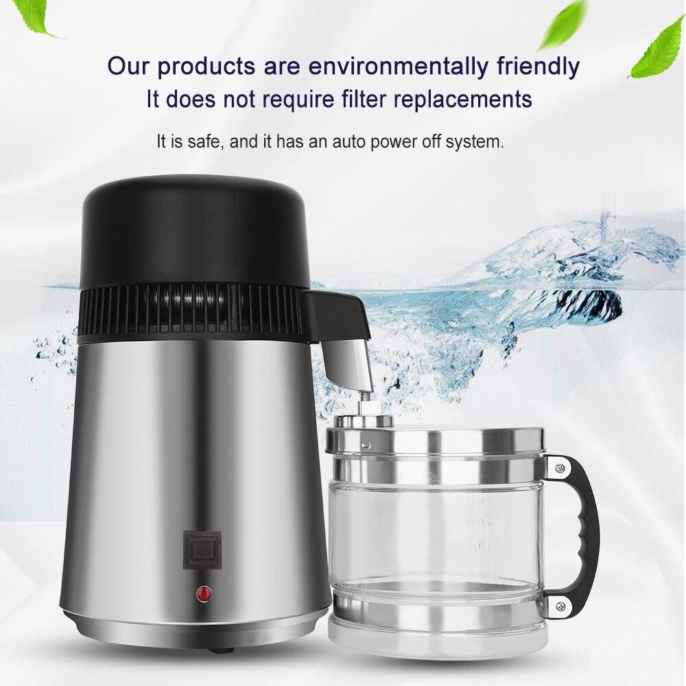 Hogar 4L destilador de agua destilada máquina destilación purificador Filtro de acero inoxidable de laboratorio dental filtro de agua