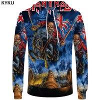 KYKU Iron Maiden Hoodies Punk Sweatshirts Male Skull Mens Clothing Uk Sweatshirt Military Sweat Shirt 3d