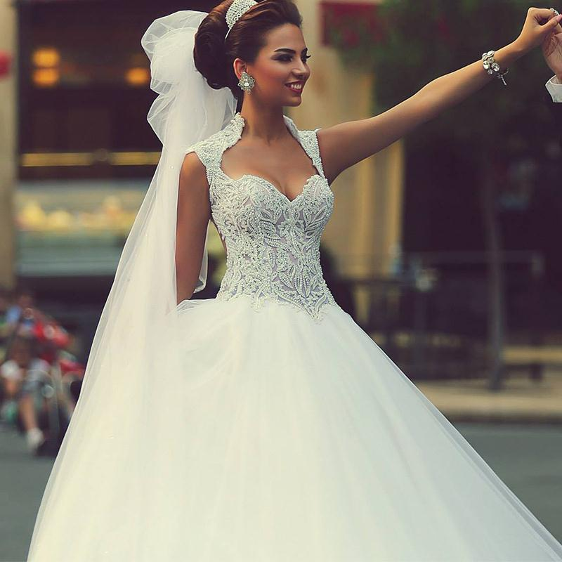 Beautiful Ball Gown Princess Wedding Dress Puffy Sweetheart Beaded ...