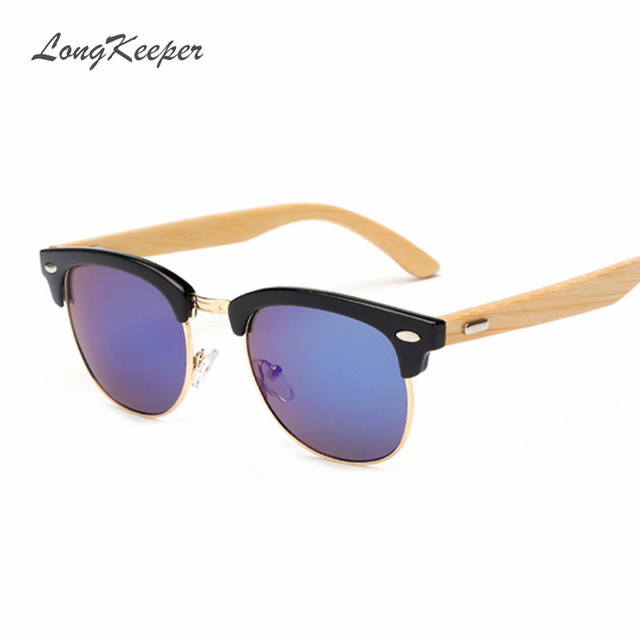 8f5b9d559b LongKeeper Bamboo Sunglasses Semi Rimless Wooden Sunglasses Women Men Brand  Designer Original Wood Sun Glasses Eyewares KP1505