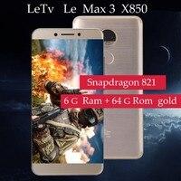 Оригинальный Letv LeEco Оперативная память 6G Встроенная память 64G le Max3 X850 FDD 4G сотовый телефон 5,7 2560x1440 дюймов Snapdragon 821 PK X820 X900 мобильного телефона