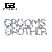 BlingBling Crystal Wedding Theme Accessory GROOMS BROTHER Word Brooch Pin for Grooms Relative