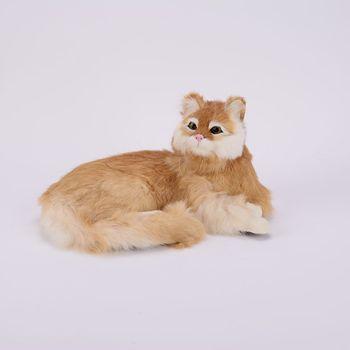 Simulation yellow cat polyethylene&furs cat model funny gift about 25cmx20cmx11cm