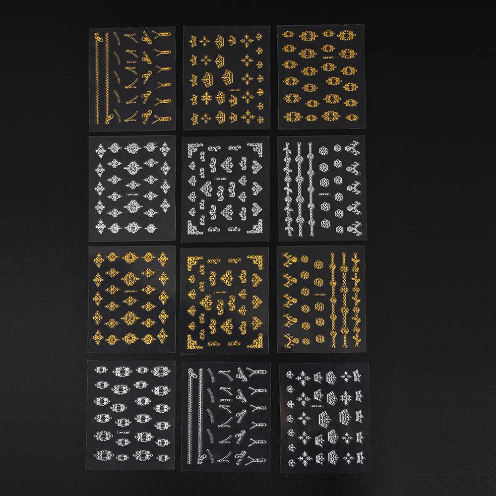 12 feuilles Or Argent Mix Zipper 3D nail art Décorations Autocollants Gel Polonais Conseils bricolage Adhésif fleurs grimpantes pour Manucure Conseils