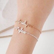 Custom Name bracelet Personalized Plate Bracelet English Bangle Gift for her Armbanden Voor Vrouwe