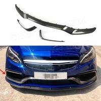 C Class Carbon Fiber Front Bumper Mid Lip Spoiler Canards for Mercedes Benz W205 C63 AMG S C180 C200 C260 Sedan 15 17 3PCS
