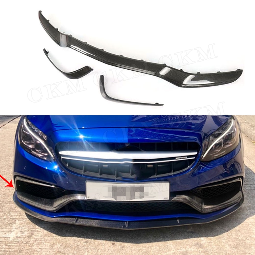 Pare-chocs avant en Fiber de carbone classe C becquet mi-lèvre Canards pour Mercedes Benz W205 C63 AMG S C180 C200 C260 berline 15-17 3 pièces