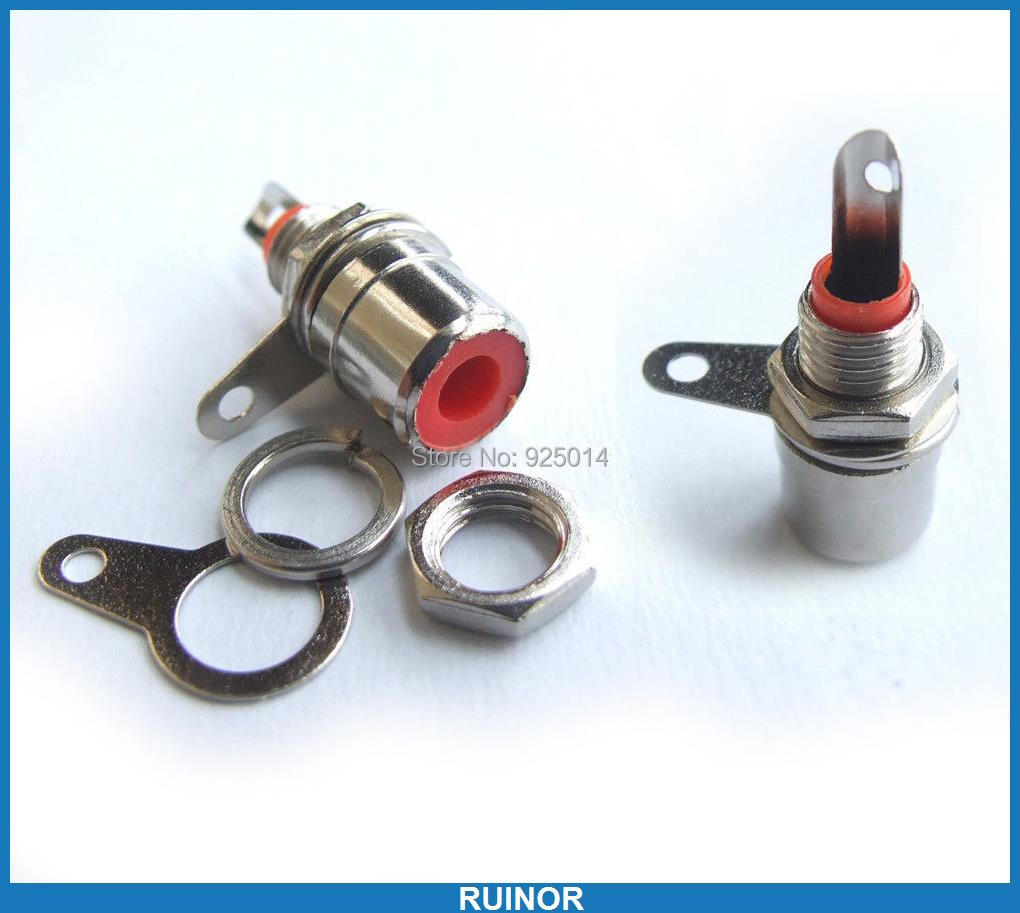 ФОТО 200PCS Red RCA Socket jack Video and audio Amplifier plug Nut Panel Mount