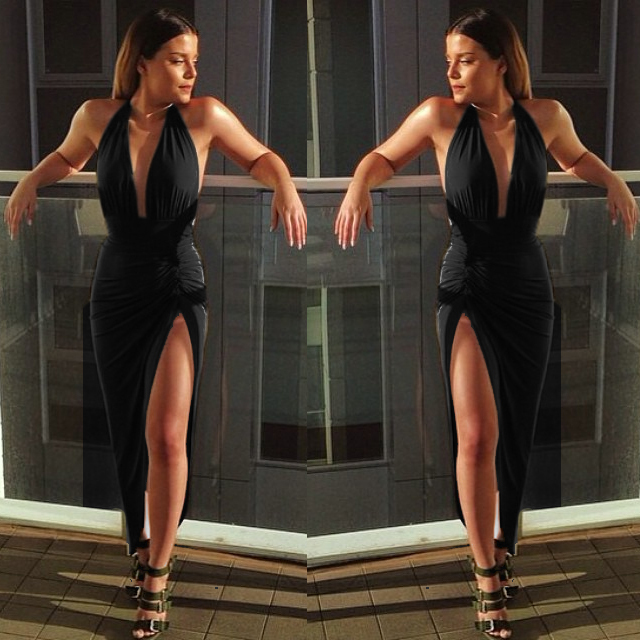 Sexy Women Halter Dress Strappy Deep V Plunge Dress Summer Maxi Long  Backless Bodycon Draped Split Dress 4502 6f8b82532