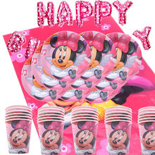ChristmaMinnie Mouse minnie theme happy birthday party decoration kids paper plate cups straw napkins baby shower party supplies(China)