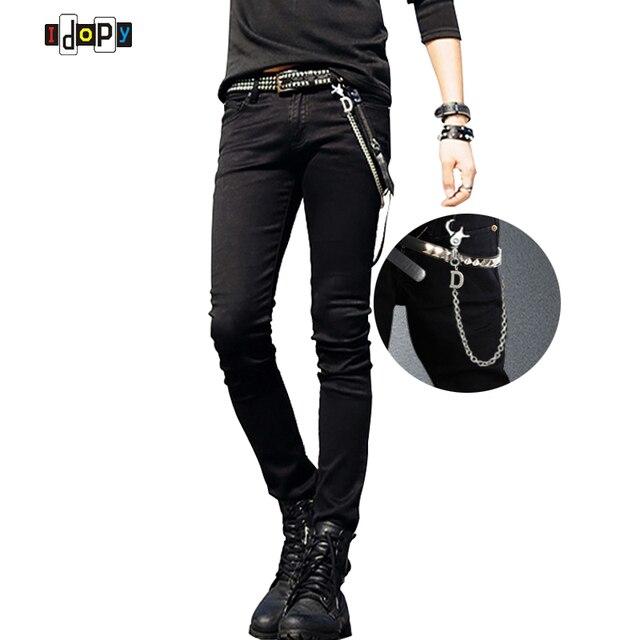 Горячие Продажи Мужские Корейский Дизайнер Черный Slim Fit Джинсы Punk Прохладный Супер Узкие Брюки С Цепи Для Мужчин джинсы мужские