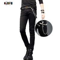 Hot Selling Mens Korean Designer Black Slim Fit Jeans Punk Cool Super Skinny Pants With Chain For Male