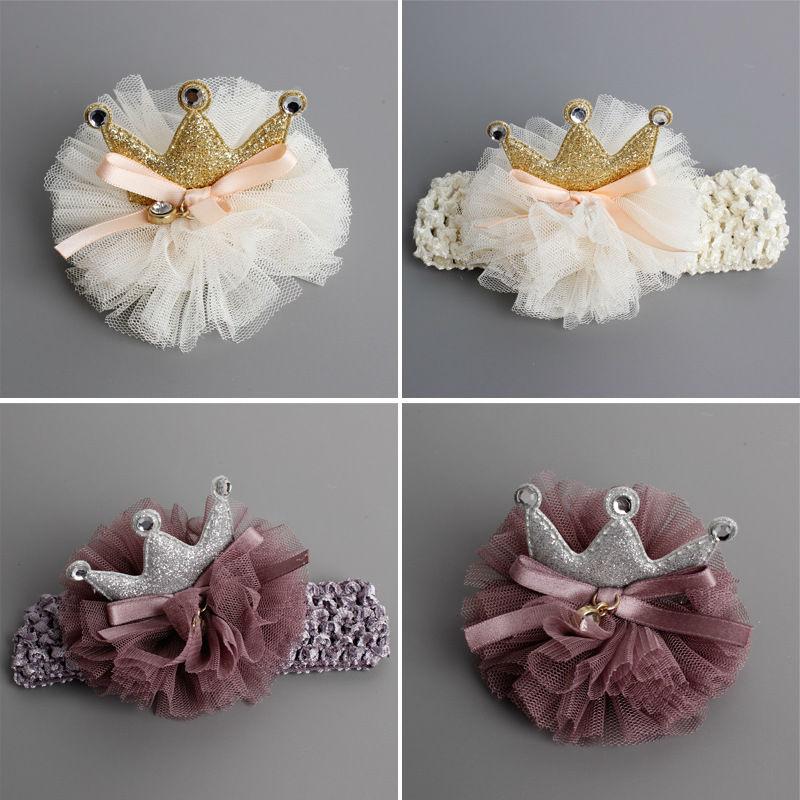 # 6902 Új Hair Accessoire cheveux aranyos íjak fej díszítés fonal virágok koronát strasszos újszülött haj rák fejpánt