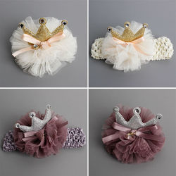 #6902 nouveau Accessoire cheveux mignon arcs tête parure fil fleurs avec couronne strass nouveau-nés cheveux crabe bandeau