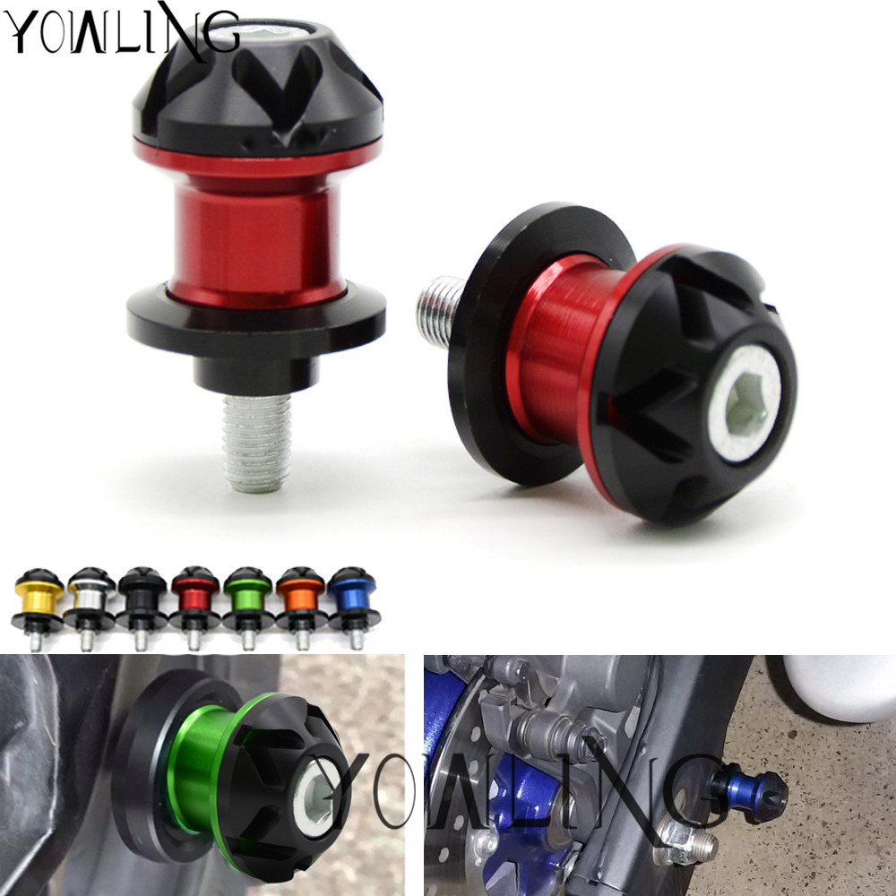 2pcs Motorcycle M6 6mm Screws CNC Aluminum Swingarm Spools Sliders fit for Aprilia Ducati Triumph Yamaha FZ1 FZ6 MT-01 R7 YZF600 6mm swing arm spools sliders for yamaha r7 yzf r1 r6 r6s fz1 fz6 fz6r 8 colors