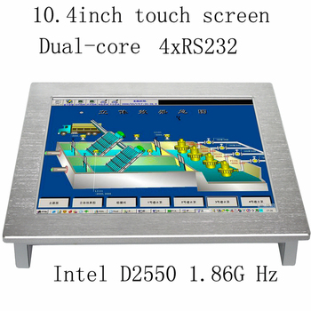 10.4 inch embedded fanless touch screen industrial Panel PC with 4*COM Support win10 system