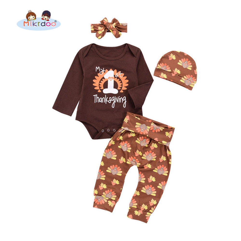 a7bf3eb5f Baby Infant Baby Boy Girl Thanksgiving Outfit My 1st Thanksgiving Letter  Print Romper Turkey Print Pant Hat Headband Clothes Set