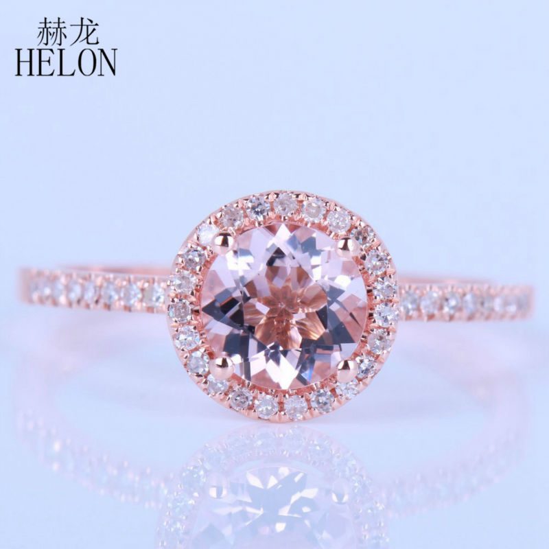 HELON Promotion Solid 14k Rose gold Halo 6mm 0 72ct Morganite 0 2ct Pave Natural Diamonds