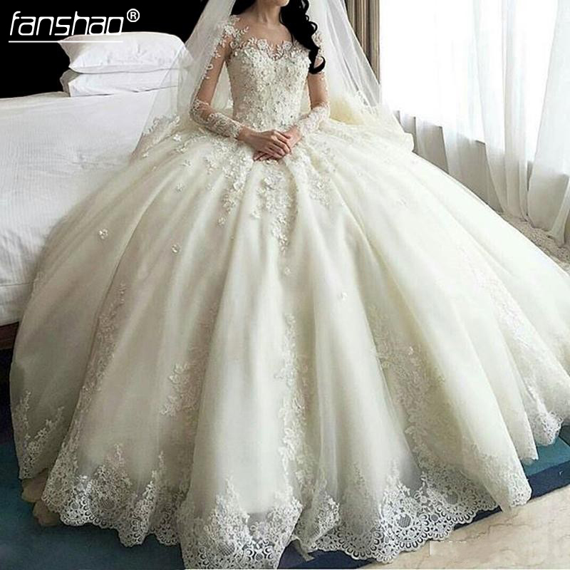 Vintage Vestido De Noiva 2019 Lace Muslim Wedding Dresses Ball Gown Tulle Turkey Dubai Arabic Wedding Gown Bridal Dresses