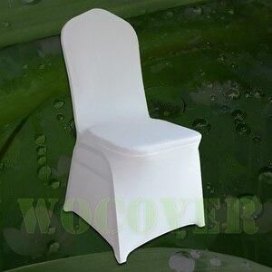 100 белых чехлов для стульев, эластичные универсальные чехлы для стульев из спандекса для свадеб, вечерние Чехлы для банкетов, отелей из поли...