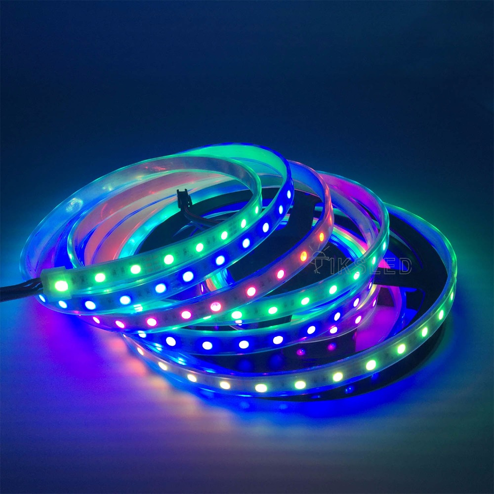 WS2811 sloksnes led lampa 5m ūdensizturīga rgb lente 5050 rgb 30 60 - LED Apgaismojums - Foto 5