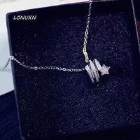 Estilo coreano oco Spiral brilhando estrelas forma zircon colar de jóias femininas de moda de Alta qualidade meninas 925 amantes de prata presente