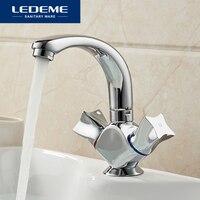 LEDEME Basin Faucet Dual Holder Single Hole Star design Brass Vessel Tap Bathroom Faucet Chrome Modern Waterfall Faucets L1087 2