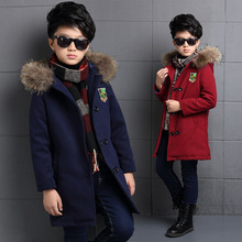 2016 новый бренд ребенка зимнее пальто для мальчиков 4-15 лет пальто мальчики детская меховым воротником double side шерстяное пальто со шляпой ab 26216