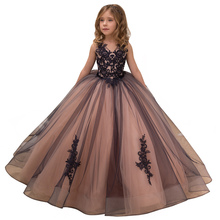 fancy little girls pageant dresses 2-12 years princess party dresses for girls mesh flower dress long kids puffy ball gowns