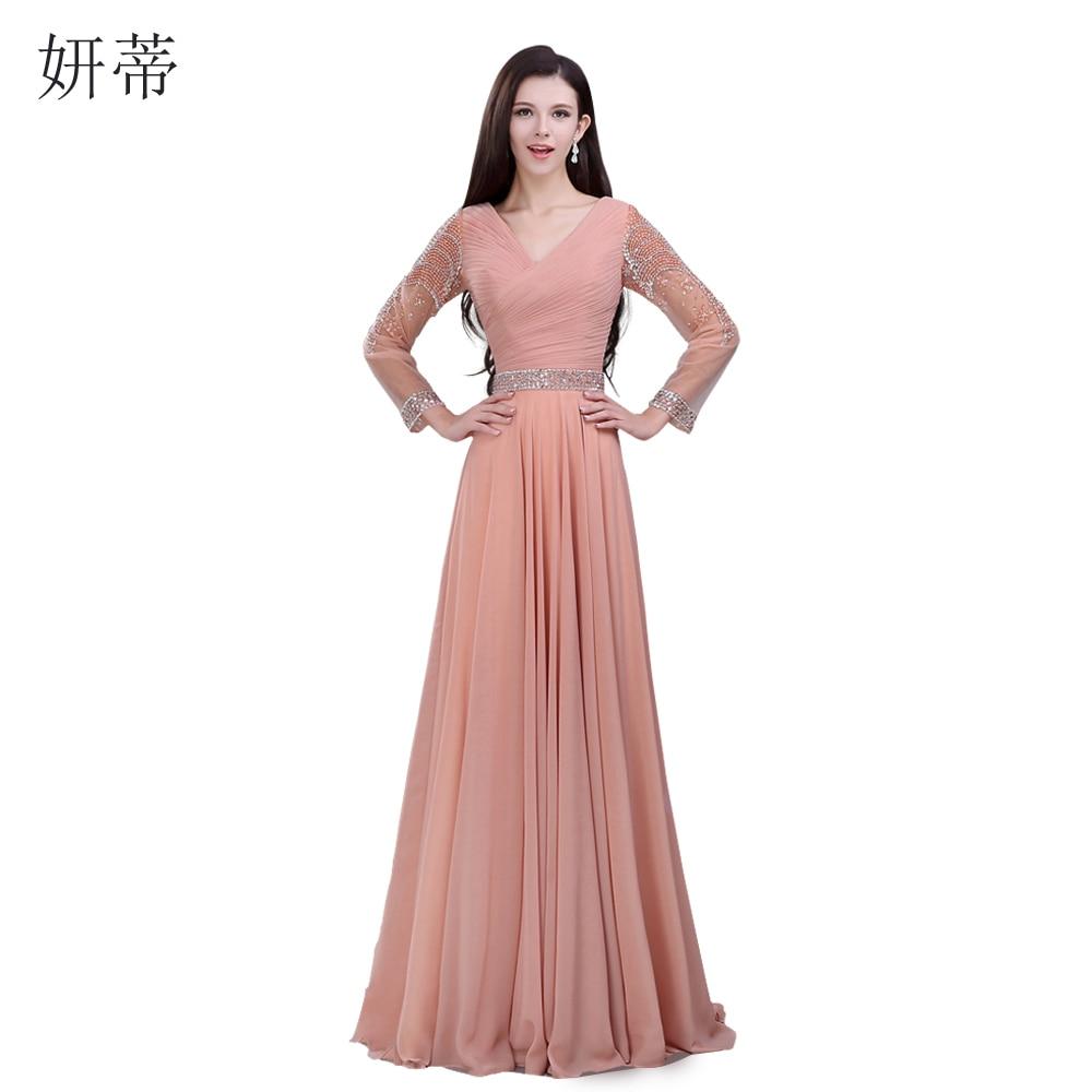 Elegant Long Sleeve V Neck Pleat A Line Evening Dress 2017 Beading Crystal Sequined Chiffon Floor
